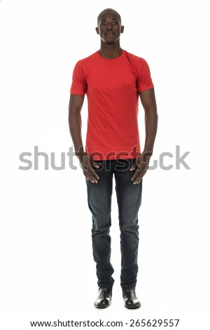 Attractive african american black man in short sleeve t-shirt on isolated white studio background - stock photo