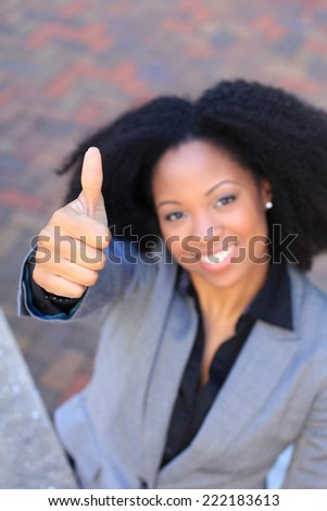 Attractive African American Business Professional Business Woman Thumbs Up Happy - stock photo