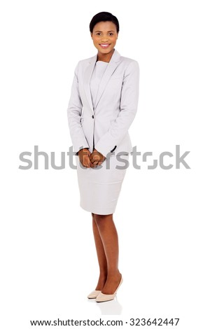attractive african american businesswoman in a suit isolated on white background - stock photo