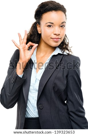 Attractive African American businesswoman okay sign isolated on white background - stock photo