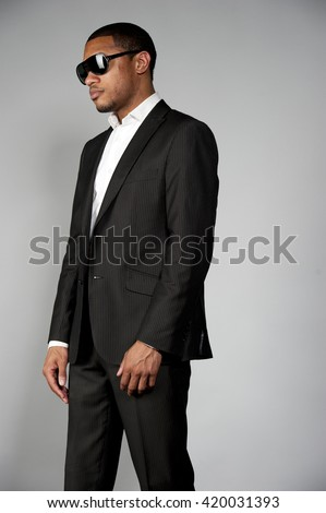 Attractive African American Male in A Suit - stock photo