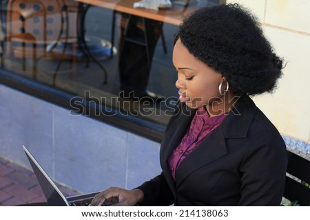 Attractive African American Professional Business Woman Working on the Computer - stock photo