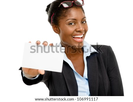 Attractive AFrican American woman holding white placard isolated on white background - stock photo