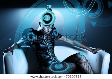 Attractive african woman with hologram on hat - stock photo