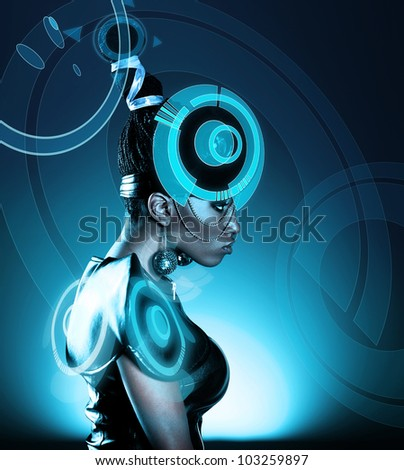 Attractive african woman with hologram on head - stock photo