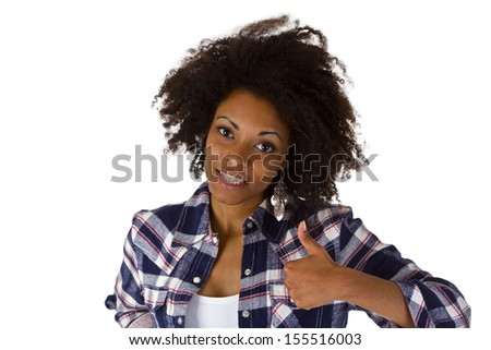 Attractive african woman with thumb up - isolated on white background - stock photo