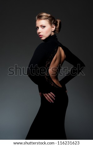 attractive and sexy female in the long dress - stock photo