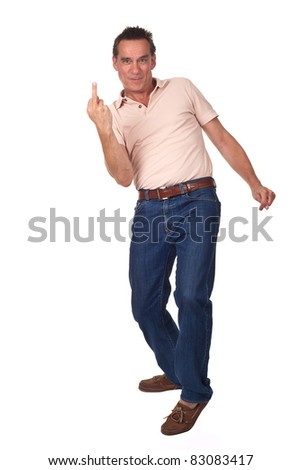 Attractive Annoyed Frustrated Man Showing Middle Finger in rude gesture with Cheeky Grin - stock photo