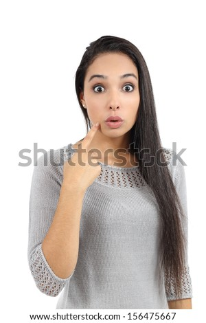 Attractive arab woman gesturing oops isolated on a white background - stock photo