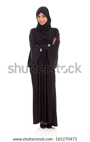 attractive arabic woman with arms crossed on white background - stock photo