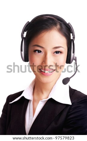 Attractive asian lady with headphone on isolated white background - stock photo
