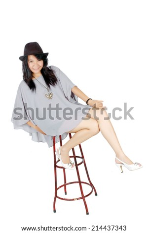 attractive asian teenage girl wearing casual clothes on white background - stock photo