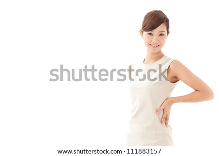 attractive asian woman on white background - stock photo
