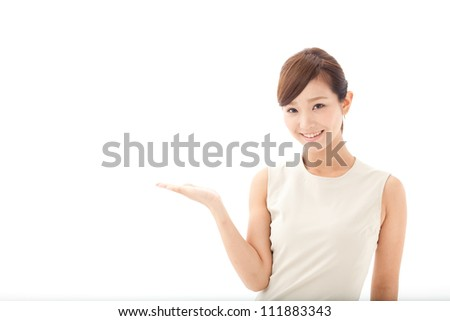 attractive asian woman showing on white background - stock photo