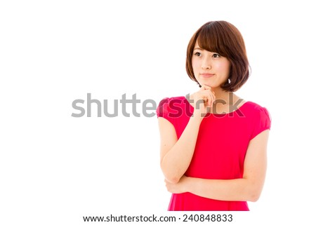 attractive asian woman thinking isolated on white background - stock photo