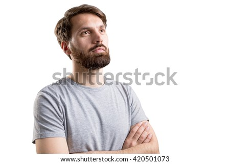 Attractive bearded businessman with crossed arms isolated on white background - stock photo
