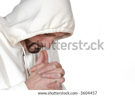 Attractive bearded middle aged man sport outfit, praying before the game, fitness concept - stock photo