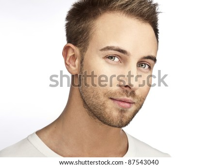Attractive beautiful & positive man - close up portrait on white background. - stock photo