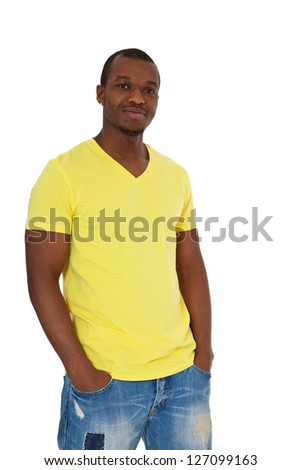 Attractive black guy. All on white background. - stock photo