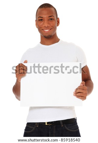 Attractive black holding blank white sign. All on white background. - stock photo
