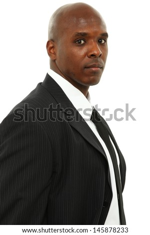 Attractive Black Man in Suit and Tie over White - stock photo