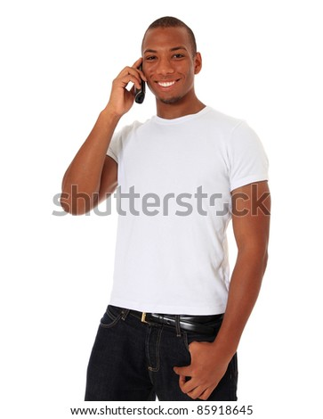 Attractive black man talking on the phone. All on white background. - stock photo