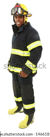 Attractive black middle aged man in fire fighter's uniform with clipping path. - stock photo