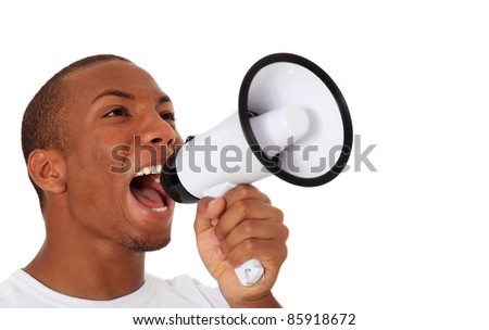 Attractive black using megaphone. All on white background. - stock photo