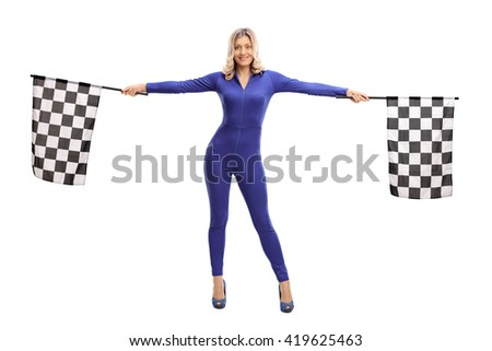 Attractive blond girl waving checkered race flags isolated on white background - stock photo