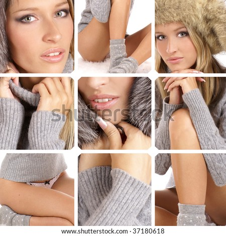 Attractive blond in a winter dress - stock photo