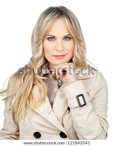 attractive blond woman making facial expression isolated - stock photo