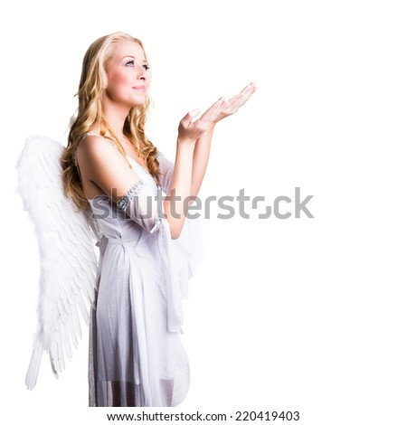 attractive blonde angel  - stock photo