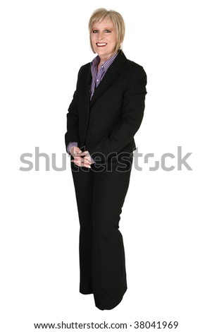 Attractive blonde forty year old business woman in suit over white with clipping path. - stock photo
