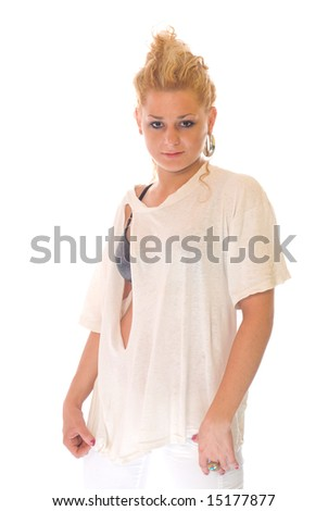 Attractive blonde girl with torn t-shirt on white backgrounds - stock photo