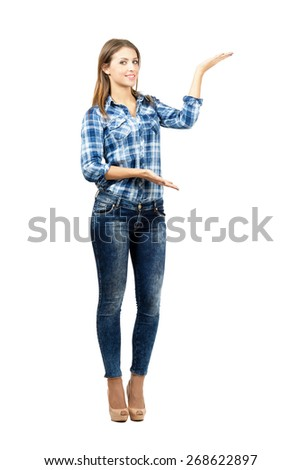 Attractive blonde presenting. Full body length portrait isolated over white background.  - stock photo