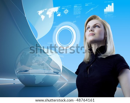 Attractive blonde with interface in future interior (outstanding business people in interiors / interfaces series) - stock photo