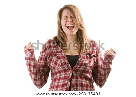 Attractive blonde woman wearing red plaid shirt and screamig  - stock photo