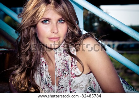 attractive blue eyes woman outdoor summer portrait - stock photo