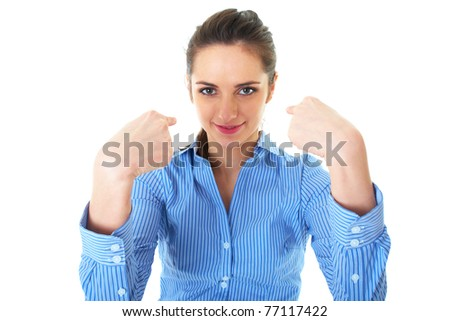 attractive brunette businesswoman point fingers to herself, wears blue shirt, isolated on white - stock photo