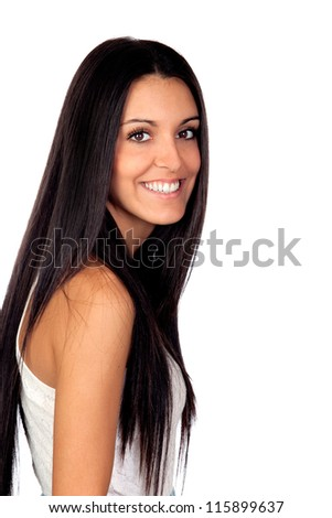 Attractive brunette girl isolated on a over white - stock photo