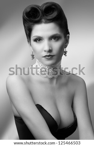 attractive brunette in oldfashion style - stock photo