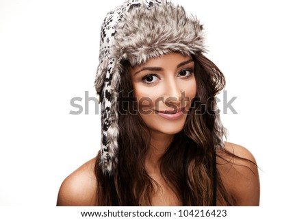 Attractive brunette portrait isolated on white background - stock photo