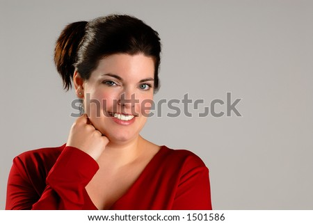 Attractive Brunette Young Woman With Casual Red Top (Horizontal) Copyspace - stock photo