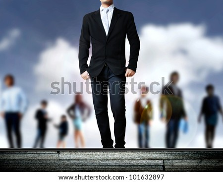 attractive business people and leaders on the deck - stock photo