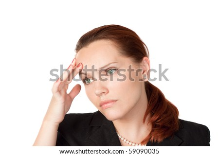 attractive business woman has problems or headache isolated on white - stock photo
