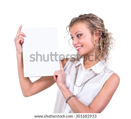 Attractive business woman hold empty blank board,  portrait isolated on white background. - stock photo