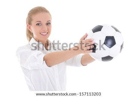 attractive business woman holding soccer ball in hands isolated on white background - stock photo