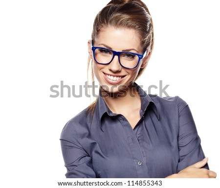 Attractive business woman smiling against  copy space background - stock photo