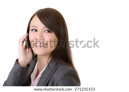 Attractive business woman talking on cellphone, closeup portrait on white background. - stock photo