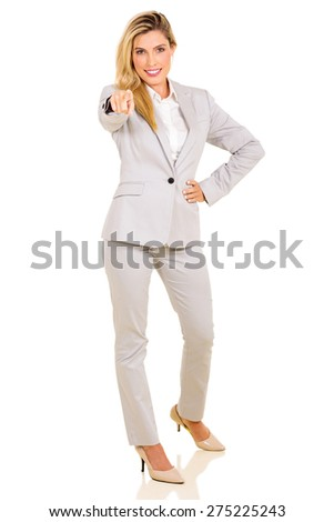 attractive businesswoman pointing at camera isolated on white - stock photo